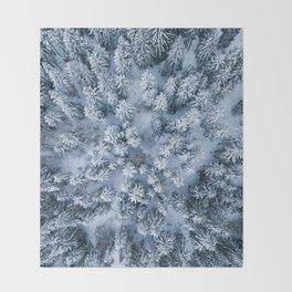 Winter Pine Forest Throw Blanket