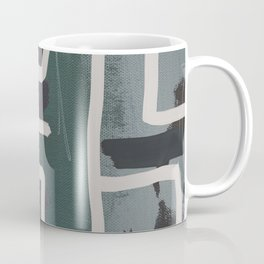 Muted Blue and Green Painting with Abstract White Line Coffee Mug