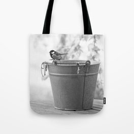 Songbird (Great Tit) on Autumn Day Black and White #decor #society6 #buyart Tote Bag