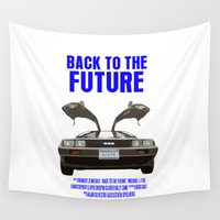 back to the future Wall Tapestries featuring Back To The Future by FunnyFaceArt