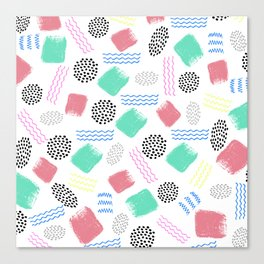 Geometrical pink teal black Memphis 80's pattern Canvas Print