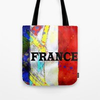 france Tote Bags featuring FRANCE by Brian Raggatt
