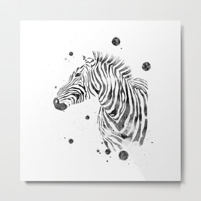 Zebra Watercolor Black and White Abstract Minimalist Metal Print