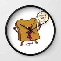 bread Wall Clocks featuring bread by Melissa Ballesteros Parada