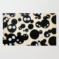ghibli Area & Throw Rugs featuring Cute Susuwatari Infestation by Puddingshades