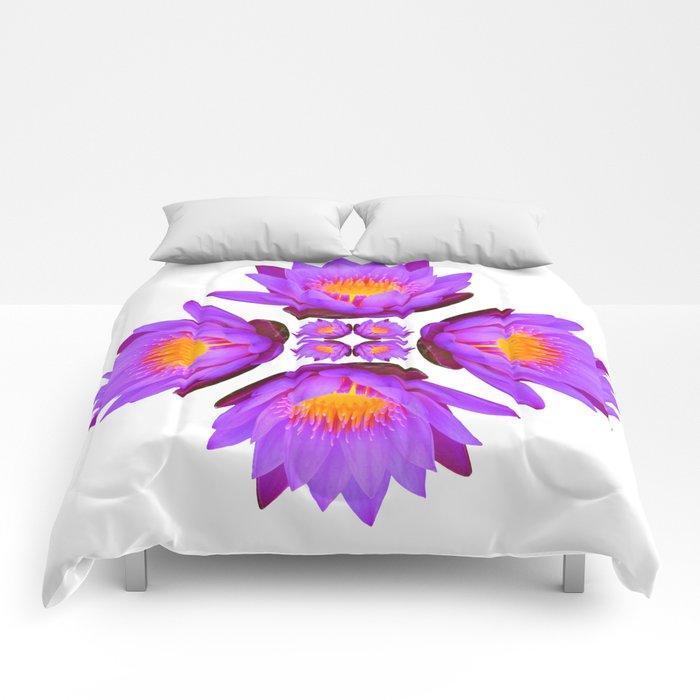 Purple lily flower on white comforters by cumulusfactory society6 purple lily flower on white comforters mightylinksfo
