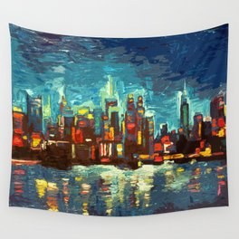 Abstract NYC Skyline Wall Tapestry