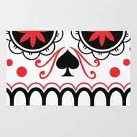 sugar skull Area & Throw Rugs featuring sugar skull by Diseños Fofo
