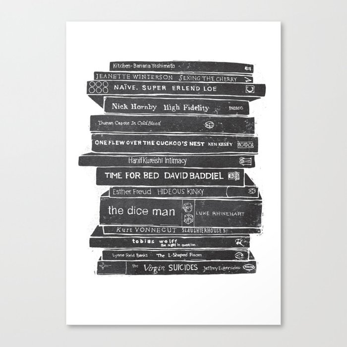 mono book stack 1 canvas print by bohocreative society6