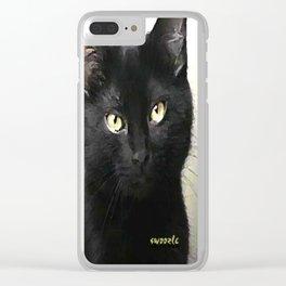 Swoozle's Black Cat in Repose Clear iPhone Case