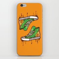 sneaker iPhone & iPod Skins featuring Green Sneaker by ArievSoeharto