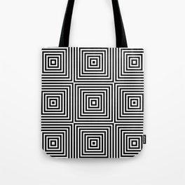 Square Optical Illusion Black And White Tote Bag