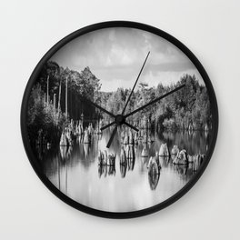 Dead Lakes Florida Black and White Wall Clock