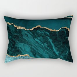 Teal & Gold Agate Texture 02 Rectangular Pillow