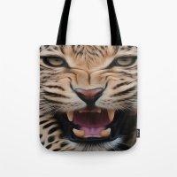 leopard Tote Bags featuring Leopard   by Brian Raggatt