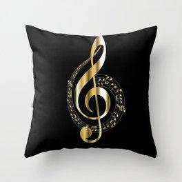 Golden G Cleff Throw Pillow