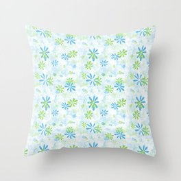 Blue and Green Floral Pattern Throw Pillow