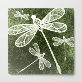 Magical white dragonflies on grunge green background Metal Print