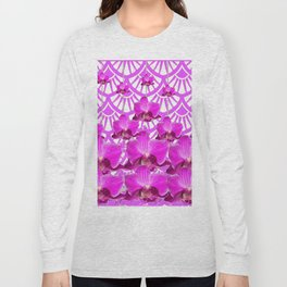 PURPLE ART DECO PATTERN ORCHIDS PATTERN ABSTRACT Long Sleeve T-shirt