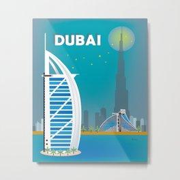 Dubai, United Arab Emirates - Skyline Illustration by Loose Petals Metal Print