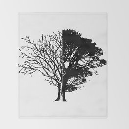 Half Tree Leaves Half No Leaves Art Throw Blanket