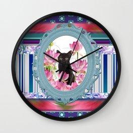 Frame Black Cat pattern Wall Clock