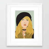 stevie nicks Framed Art Prints featuring stevie by Britt Whitaker Design