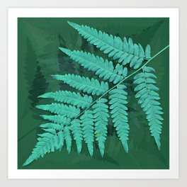 From the forest - turquoise on green Art Print