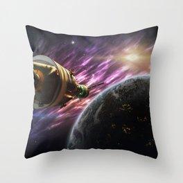 Space travel around planet Throw Pillow