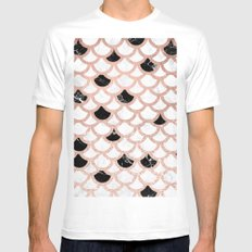 Girly rose gold black white marble mermaid scallop pattern White Mens Fitted Tee MEDIUM