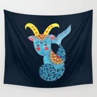 capricorn Wall Tapestries featuring Blue Capricorn by haidishabrina