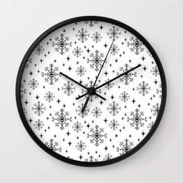 Snowflakes winter christmas minimal holiday black and white decor gifts Wall Clock