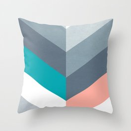 Vertical Chevron Pattern - Teal, Coral and Dusty Blues #geometry #minimalart #society6 Throw Pillow