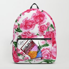 Accordion with pink roses Backpack