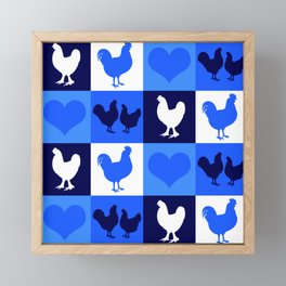 Blue and White American Chickens Gingham Framed Mini Art Print