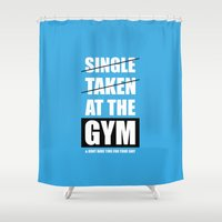 gym Shower Curtains featuring Lab No. 4 - At The Gym Gym Motivational Quotes Poster by Lab No. 4