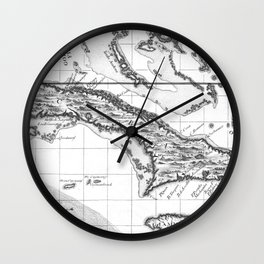 Vintage Map of Cuba and Jamaica (1763) BW Wall Clock