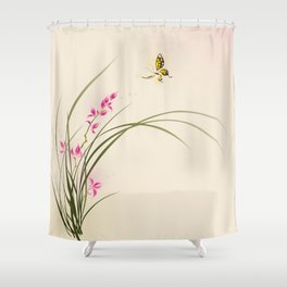 Oriental style painting - orchid flowers and butterfly 004 Shower Curtain