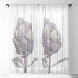 artichoke watercolor pencils and digital Sheer Curtain
