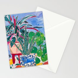 Houseplant collection Still Life on Blue Painting with Stromanthe Triostar, Pilea, and Snake Plant and Lion Vase Stationery Cards