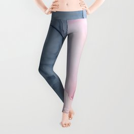 Blush and Payne's Gray Abstract Split Leggings