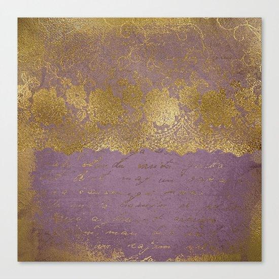 Romantic Bridal lace - Gold floral elegant lace on old purple paper Canvas Print