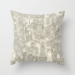 vintage halloween drab ivory Throw Pillow