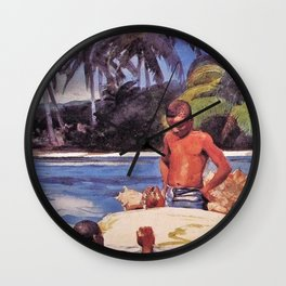 Winslow Homer's African American Masterpiece, Father & Son, The Coral Reefs, The Florida Keys landscape painting Wall Clock