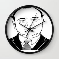 scarface Wall Clocks featuring Al 'Scarface' Capone by Danny Abbott