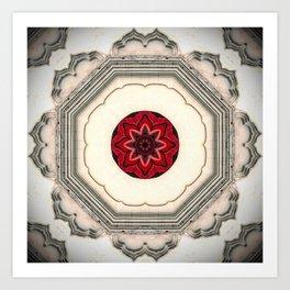 Tile Red Mandala Art Print