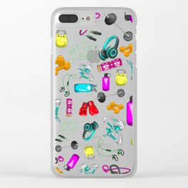 Work Out Items Pattern Clear iPhone Case