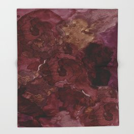 Rose, Burgundy and Merlot Watercolor Flowers Throw Blanket