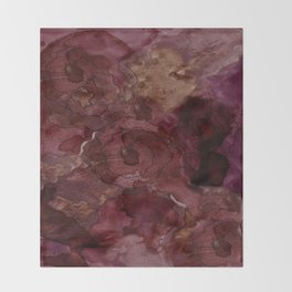 Rose, Burgundy and Merlot Watercolor Flowers Throw Blanket