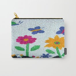 Butterflies and spring flowers bubble art Carry-All Pouch